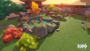 【原神】賑やかめの庭園作ろうと思うと少し作った ← ハウジング技能が凄すぎた