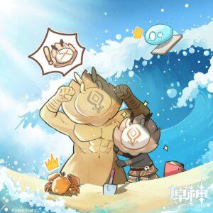 【原神】夏の日ヒルチャールさんイラストが公開されたぞ!